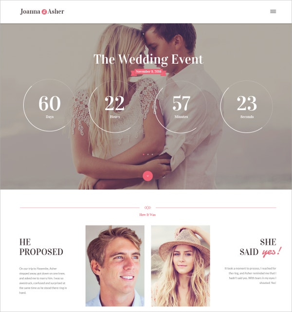 Wedding Day Event WordPress Theme $44