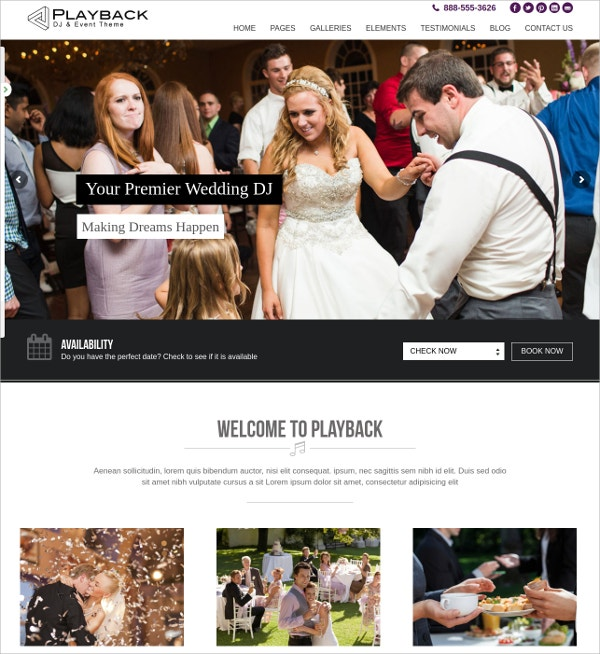 Premium Wedding DJ Event WordPress Theme $45