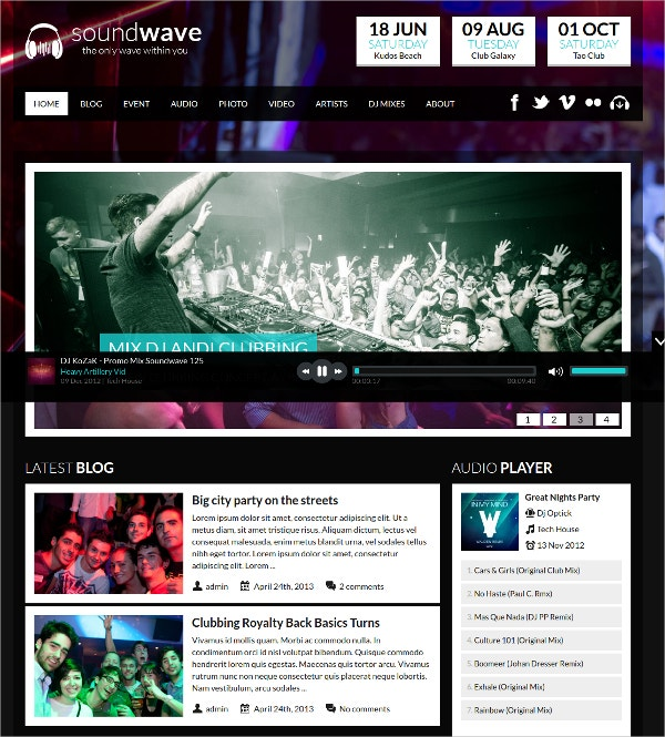 Soundwave Music Events WordPress Theme $49