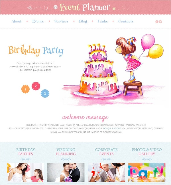 Birthday Party Event WordPress Theme $75