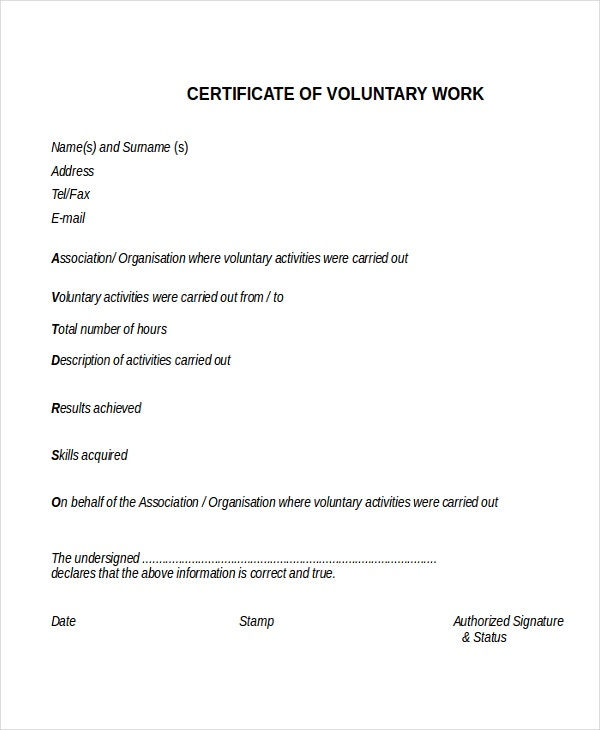 Volunteer Work Certificate Template