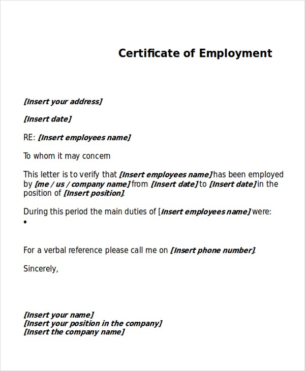 sample work certificate