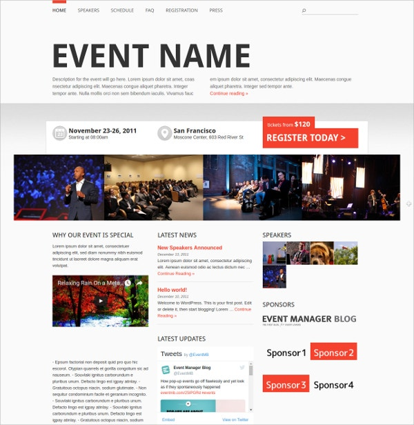 professional responsive wordpress event theme