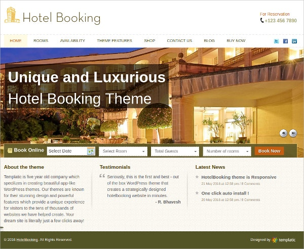 HotelBooking Event WordPress Theme $45