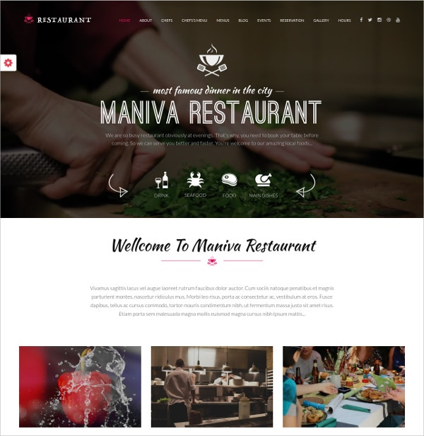 Restaurant Event WordPress Theme $49