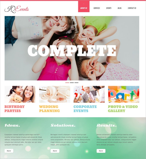 Event Planner Responsive WordPress Theme $75