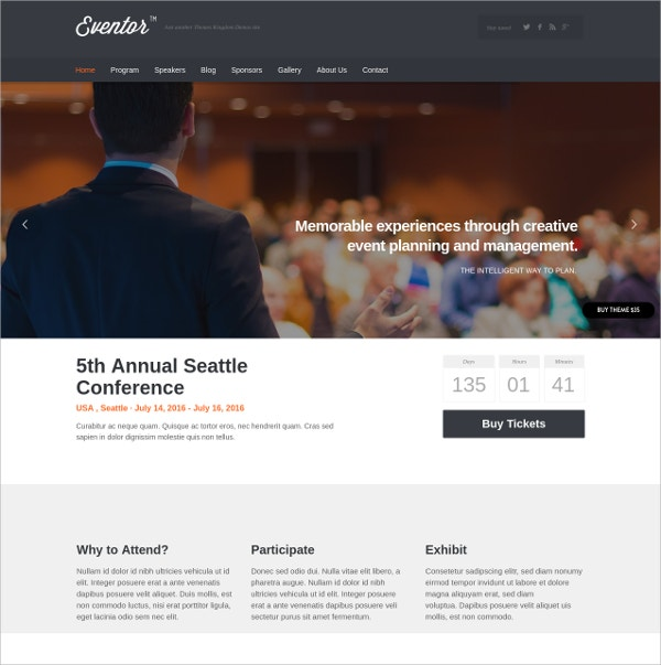 memorable event wordpress theme