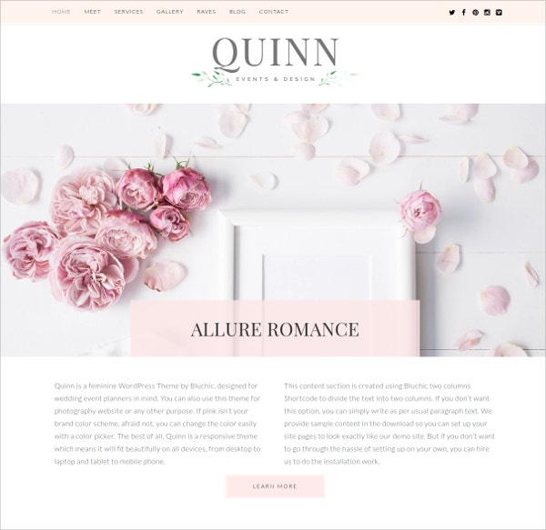 Wedding & Event Planners, Photographers WordPress Theme