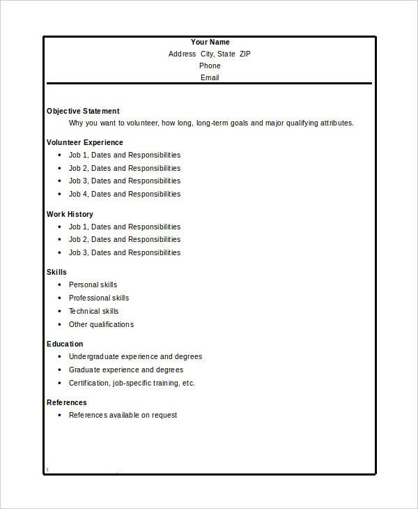 Volunteer Resume Template 7 Free Word PDF Document Download – Volunteer Resume