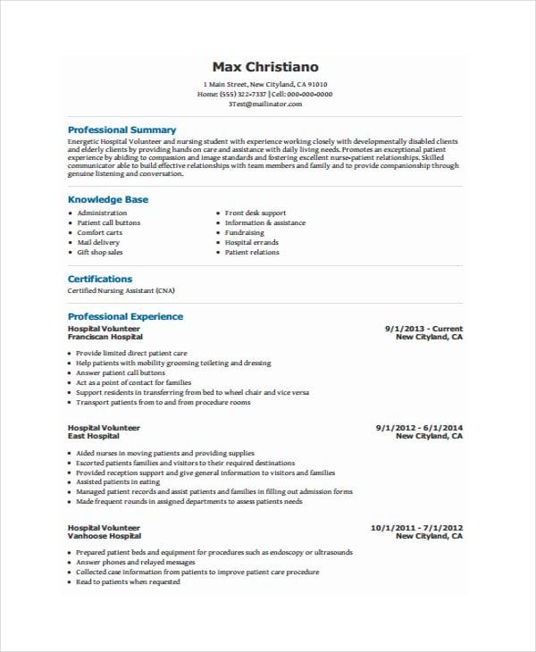 Resume Template With Volunteer Experience Vosvetenet – Hospital Volunteer Job Description