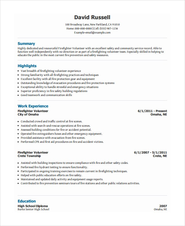 volunteer firefighter resume1