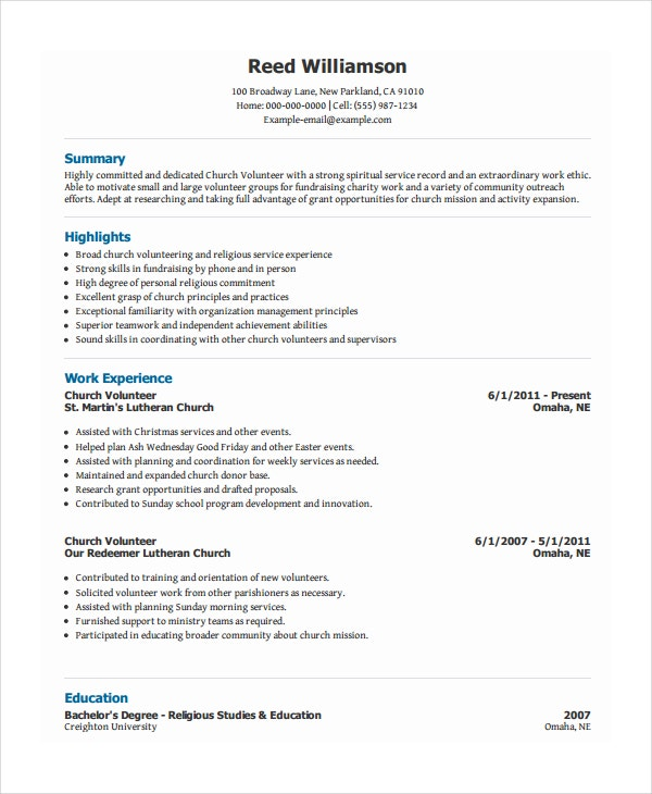 Superb Church Volunteer Resume On Volunteer Resume Template