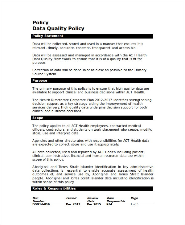 Data Quality Policy Template
