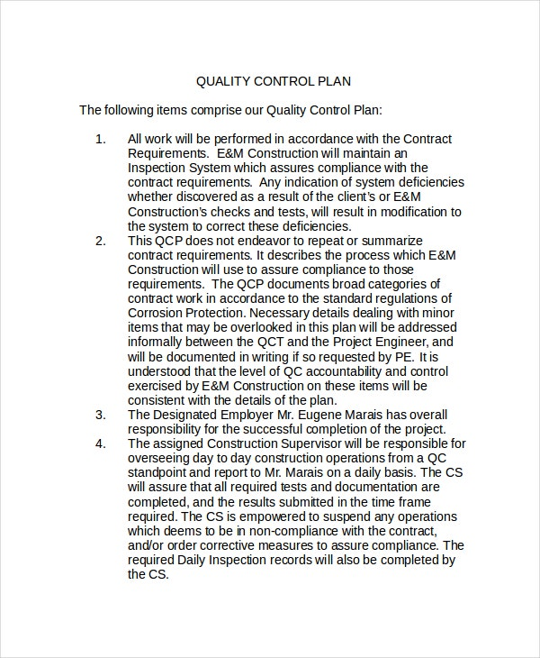 Quality Control Policy Template