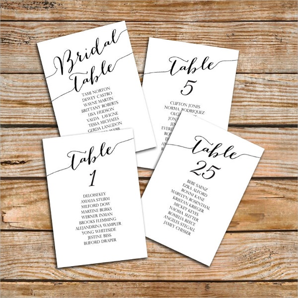 Table Number Name Card Template