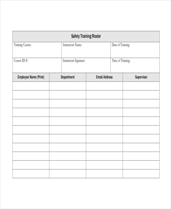 Training roster template padi dive roster slate blank for Safety training calendar template