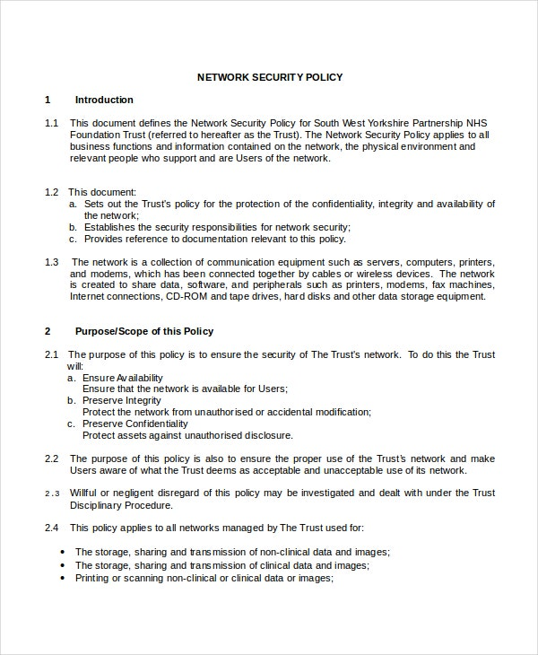 network security policy template
