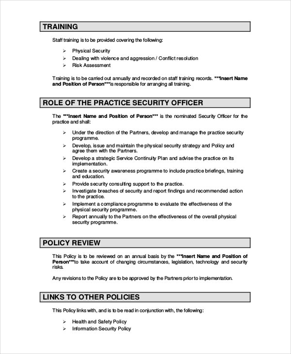 Security policy template 7 free word pdf document for Physical access control policy template