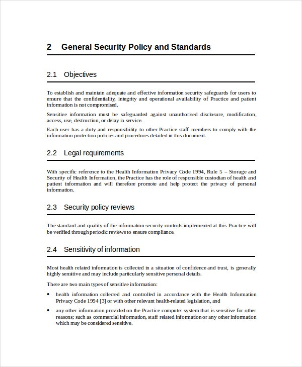 Security policy for Infosec policy template