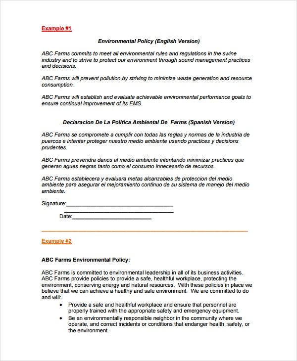 7 environmental policy templates free premium templates for Policy and procedure template for medical office