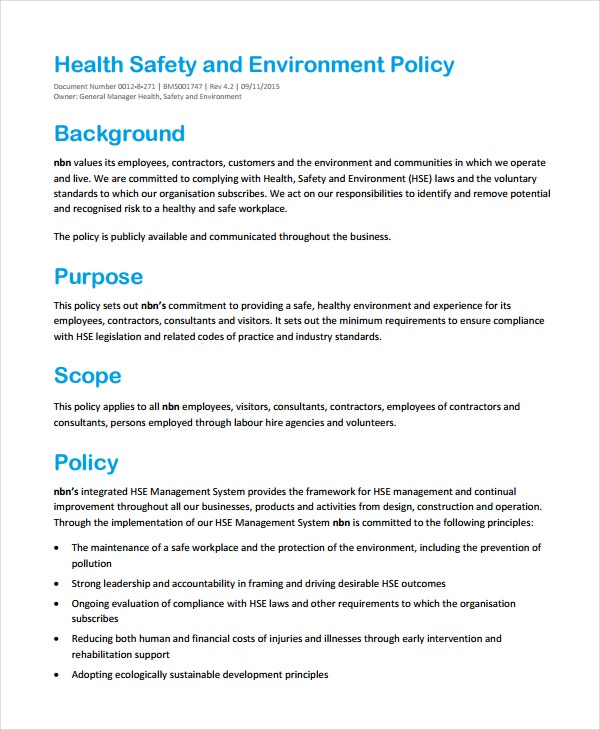 Hse Health And Safety Policy Template 7 Environmental Policy Templates Free Premium Templates