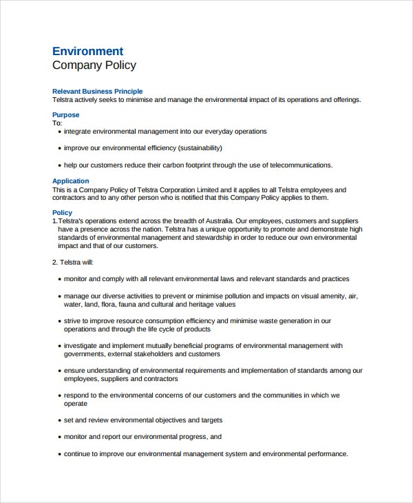 Company Environmental Policy