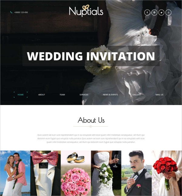 Wedding Category HTML5 Bootstrap Responsive Website Template