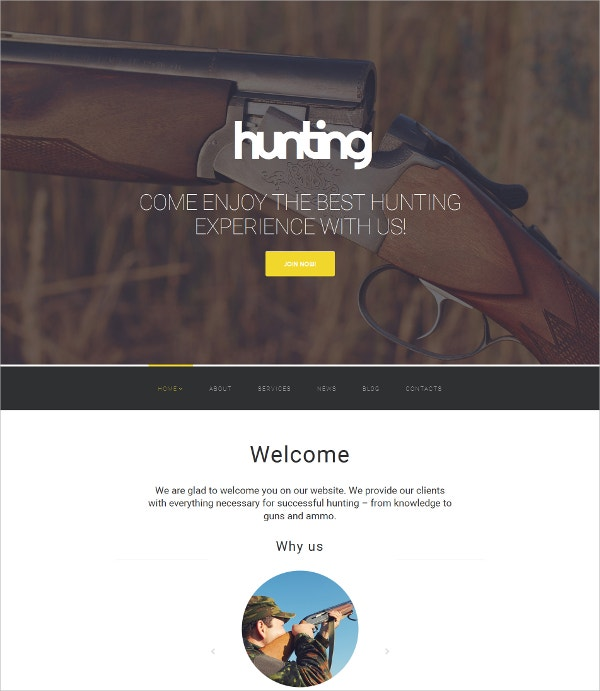 Hunting Responsive HTML5 Website Template $199