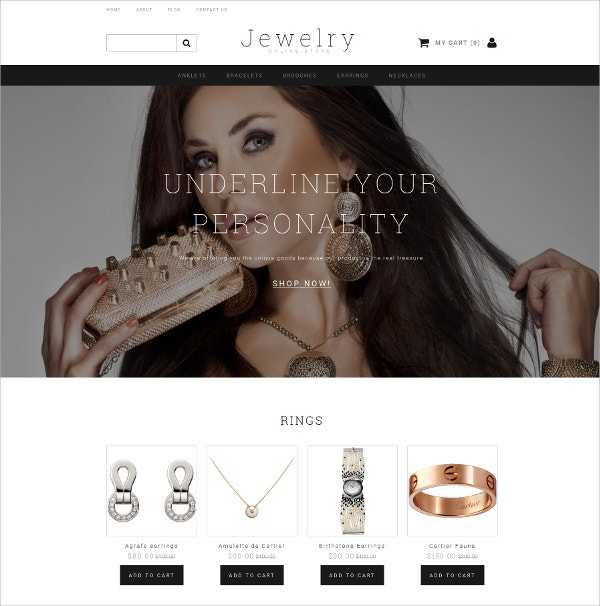 Jewelry eCommerce HTML5 Website Template $199