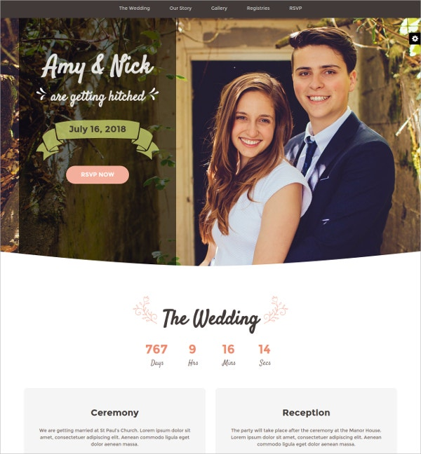 Responsive Wedding Invitation HTML5 Website Template
