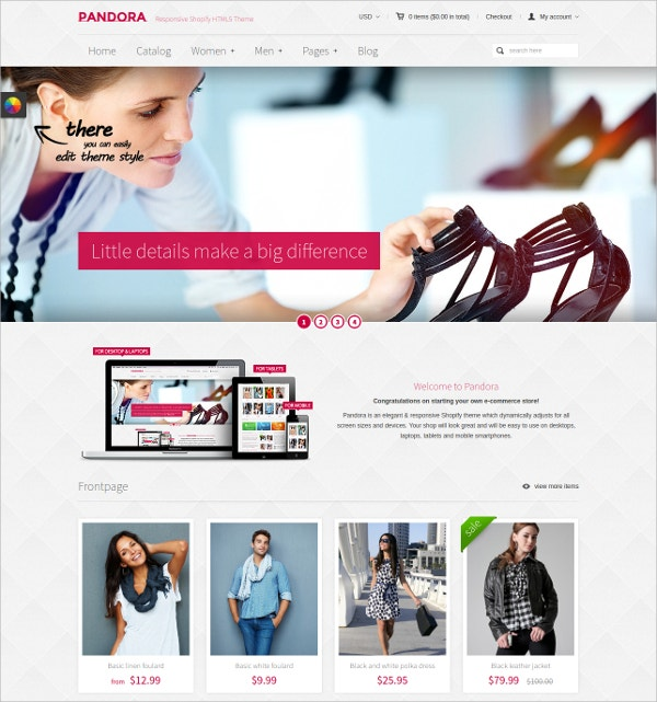 Responsive Shoping HTML5 Website Theme $56