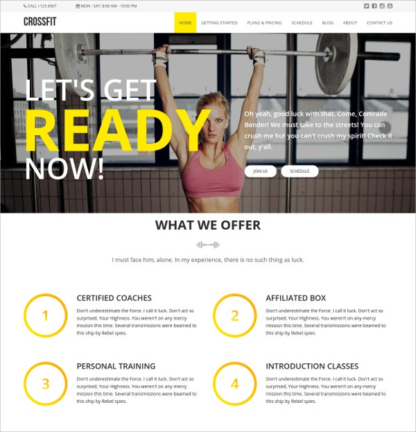 Fitnesss HTML5 Website Template $18