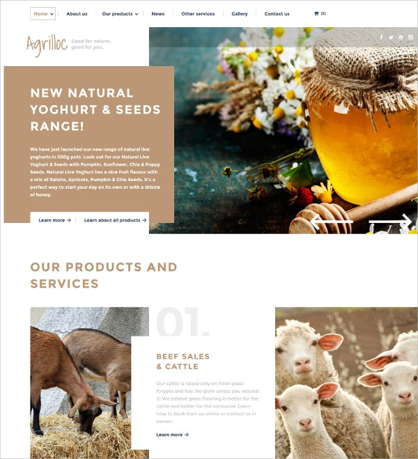 Agriculture HTML5 Website Template $75