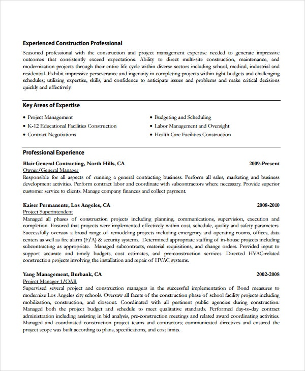 construction company accountant resume sample work template owner