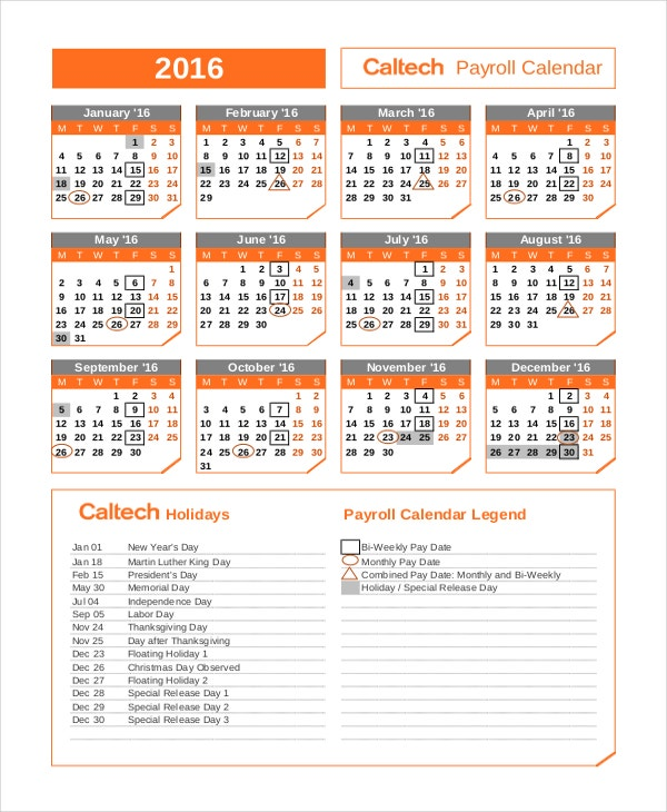 Yearly Payroll Calendar Template
