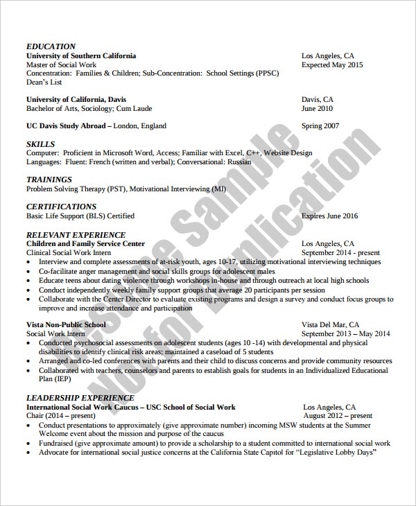 social work resume template - Social Work Resume