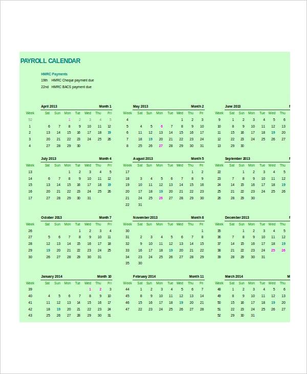 Client Payroll Calendar Template