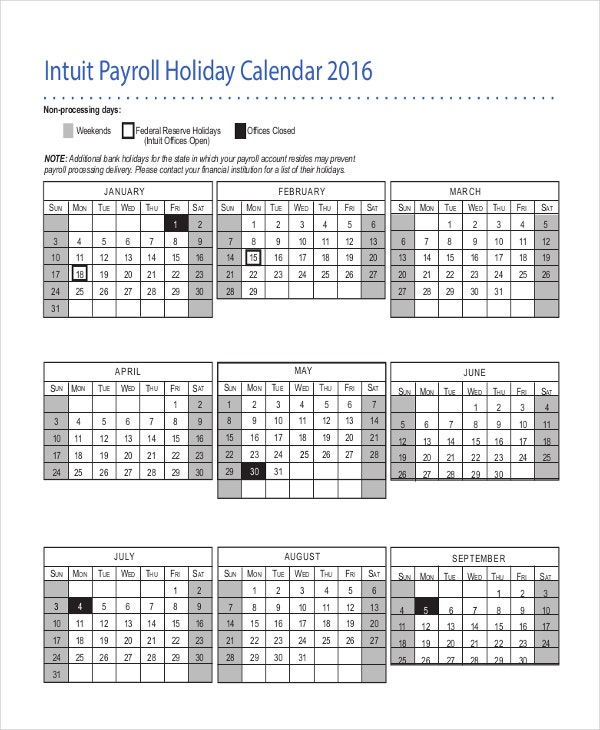 Intuit Payroll Holiday Calendar Template  Payroll Schedule Template