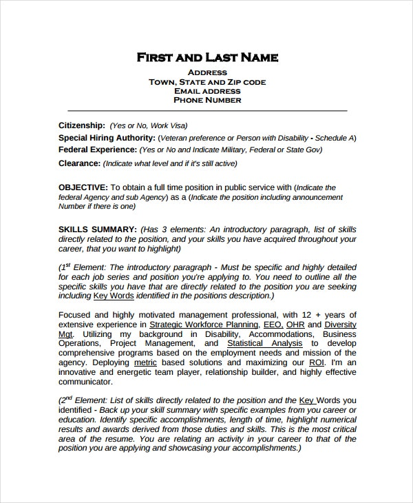 federal work resume template