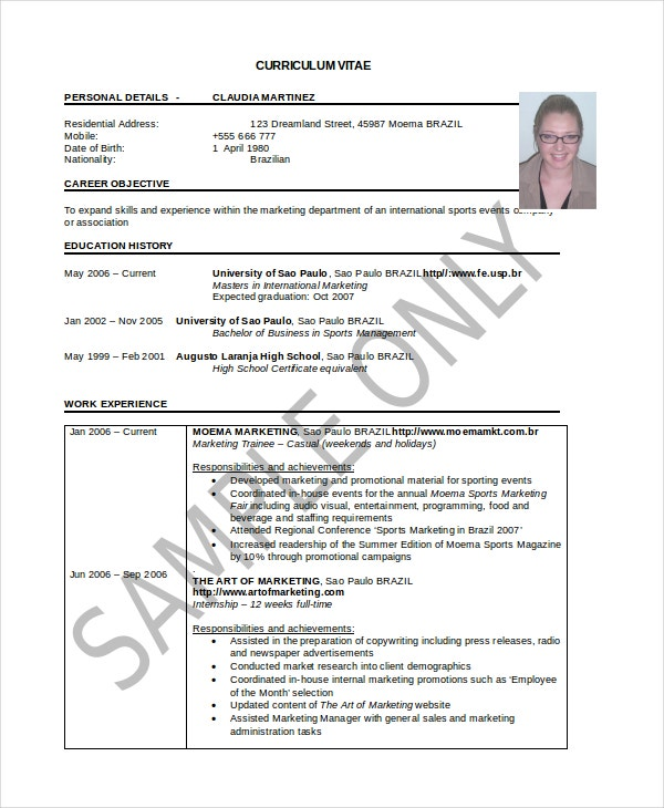 Sample Curriculum Resume