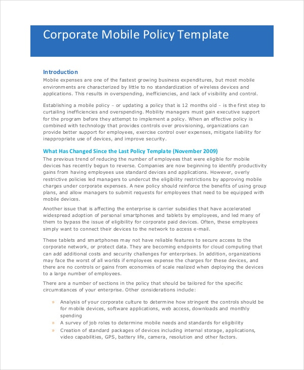 mobile phone policy template - company policy template 14 free pdf documents download