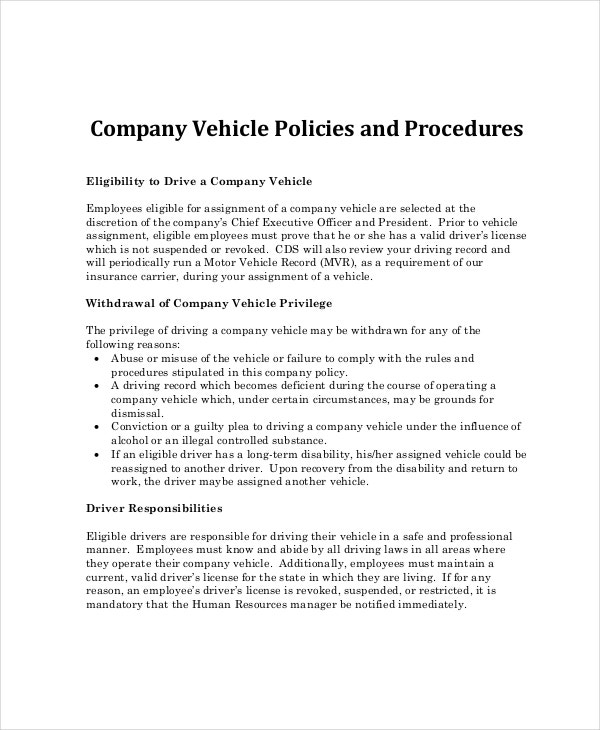 Company vehicle policy selol ink company vehicle policy friedricerecipe Choice Image