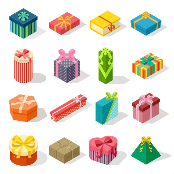 Isometric Paper Gift Box Vector