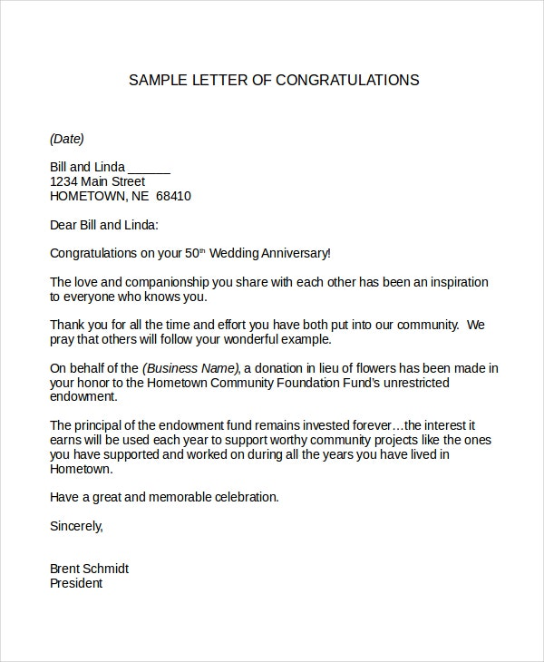 Congratulations Letter Template   Free Word Document Downloads