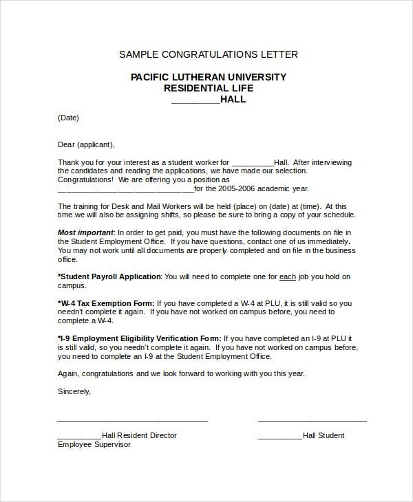 Congratulations letter template 12 free word document downloads formal congratulations letter spiritdancerdesigns Image collections