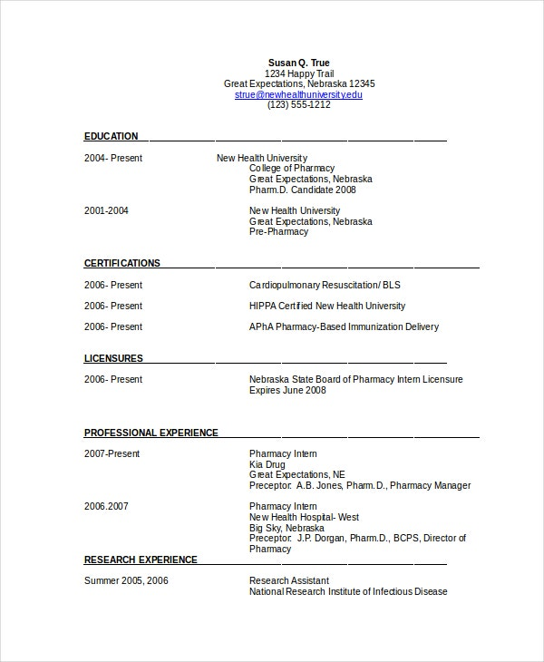 Pharmacist Resume Template Free Word Pdf Document Downloads