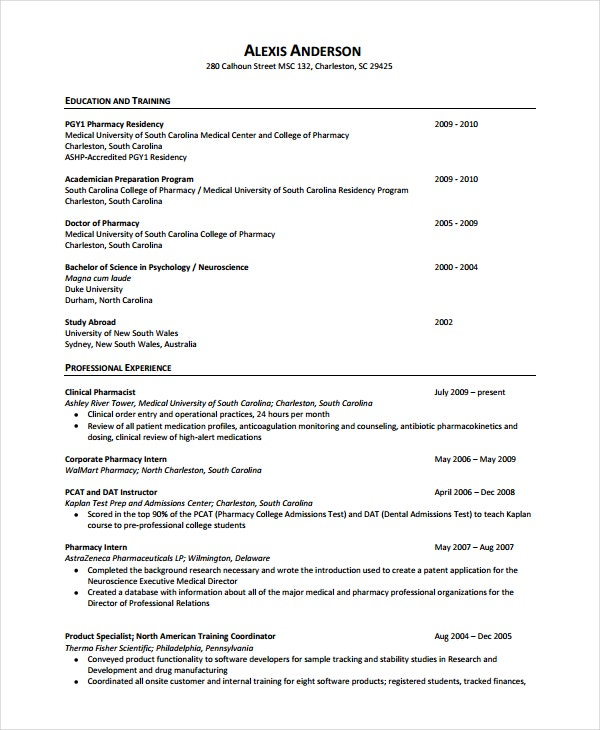 pharmacist resume template