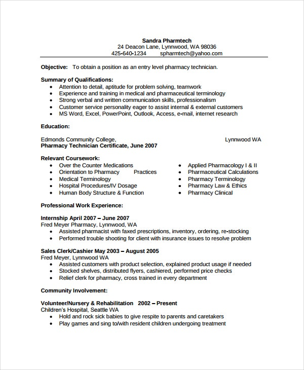 pharmacy technician resume sample canada free hospital template