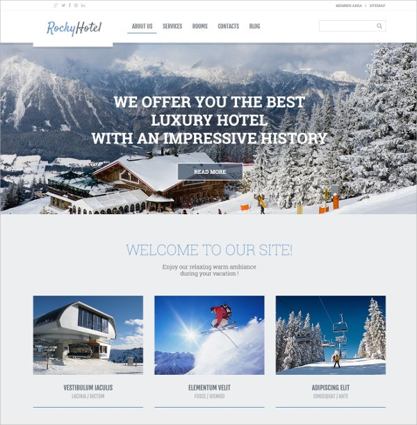 Rocky Hotel WordPress Theme $75