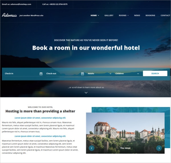Hotel Booking WordPress Theme $49
